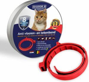 Biologische Vlooienband Voor Katten - Rood - Zonder Fipronil, Flumetrine, Imidaclorid of Diazinon