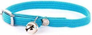 Halsband voor kat elastisch nylon turquoise 30x1 cm
