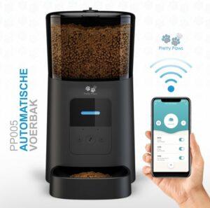 Pretty Paws® - PP005 - Wifi Voerautomaat Zwart - Automatische Voerbak - Slimme Voerautomaat met App - Instelbaar Voedingsschema - WIFI