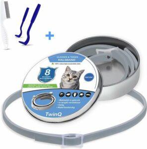 TwinQ Vlooien en Tekenband voor katten - Vlooienband voor kat - Tekenband kat - Incl. vlooienkam en tekenverwijderaar