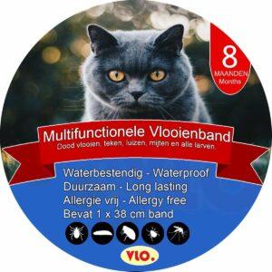 VLO. Teken en Vlooienband - 38cm - alle katten - 8 maand bescherming