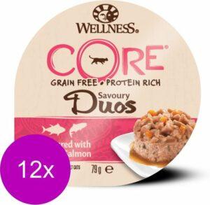 Wellness Core Duos 79 g - Kattenvoer - 12 x Tonijn-Zalm